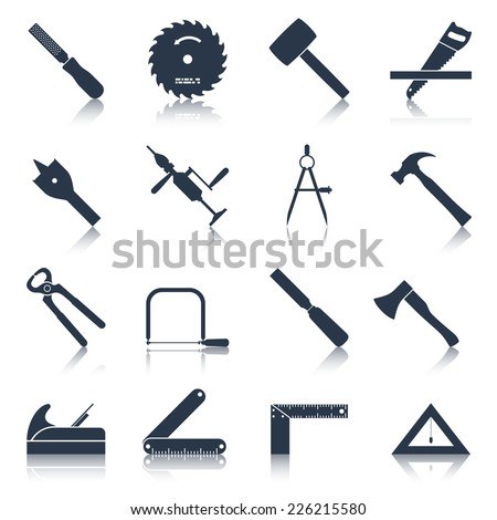 Carpentry wood work tools and equipment black icons set isolated vector illustration - stock vector