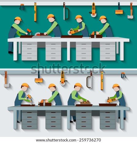 Carpentry workshop with carpenter timber workers with construction tools flat vector illustration - stock vector