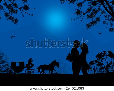 Carriage and lovers at blue night on beautiful landscape, vector illustration