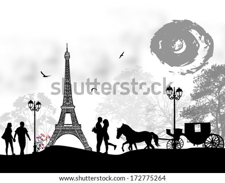 Carriage and lovers in Paris, romantic background, vector illustration - stock vector
