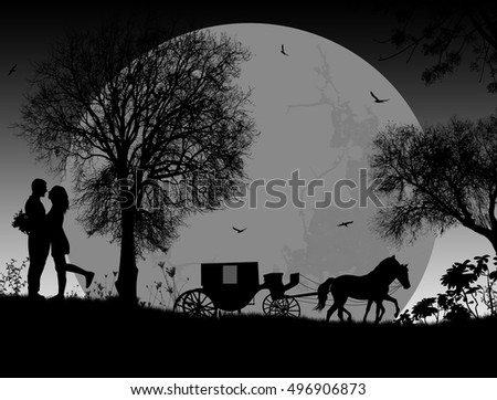 Carriage and lovers on grey in front of full moon, romantic background, vector illustration