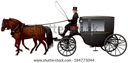 Carriage pulled by two horses. A Clarence or Growler, larger version of the Brougham cab, 19th century London taxicab realistic vector illustration