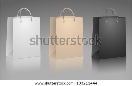 Carrier Paper Bag Beige, White and Black - stock vector