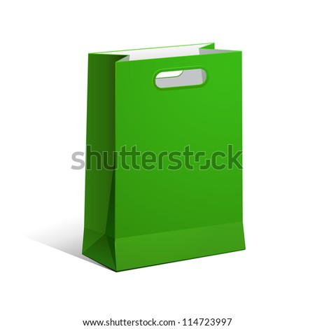 Carrier Paper Bag Green Empty. Illustration Isolated On White Background. Ready For Your Design. Vector EPS10