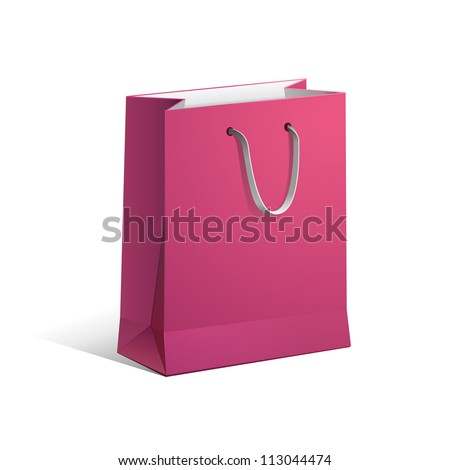 Carrier Paper Bag Pink Red Empty EPS10 - stock vector