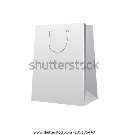 Carrier Paper Bag White.  Illustration Isolated On White Background. Ready For Your Design. Product Packing Vector EPS10