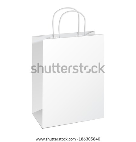 Carrier Paper Bag White. Illustration Isolated On White Background. Ready For Your Design. Product Packing Vector - stock vector