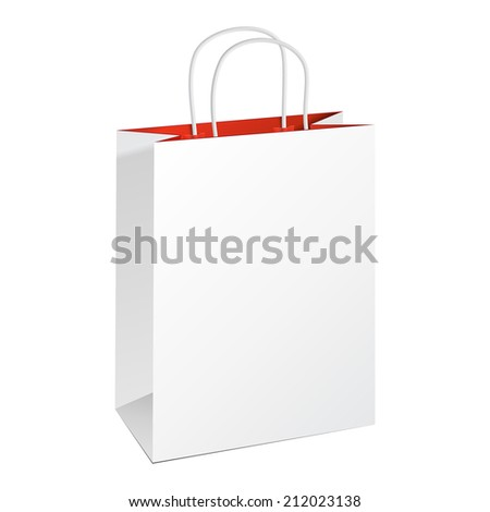 Carrier Paper Bag White Red. Illustration Isolated On White Background. Ready For Your Design. Product Packing Vector - stock vector
