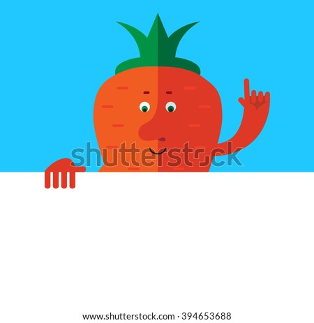 Carrot  holding a blank sheet and making attention gesture with forefinger. Flat style vector illustration . Funny cartoon character - stock vector