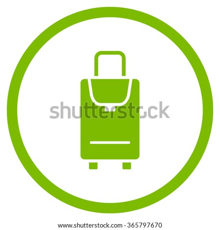 Carryon vector icon. Style is flat circled symbol, eco green color, rounded angles, white background.