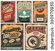 Cars ads and banners retro 20th century collection. Classic garage grunge metal signposts set. Old-fashioned road station and auto service layouts.