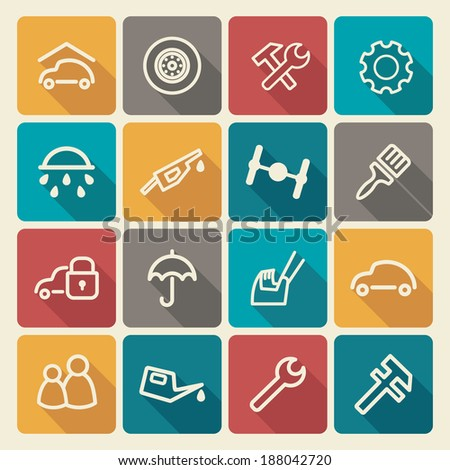 Cars and spare parts - stock vector