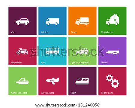 Cars and Transport icons on color background. Vector illustration. - stock vector