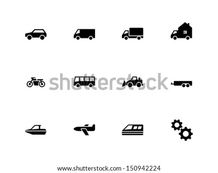Cars and Transport icons on white background. Vector illustration. - stock vector