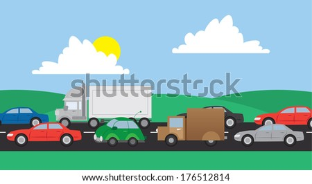 Cars and trucks in traffic on a road  - stock vector