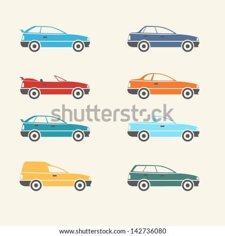 Cars Body Types Set - stock vector