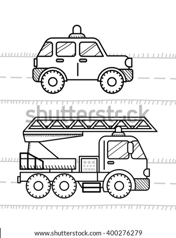 cars coloring book for kids firetruck police - Car Coloring Book