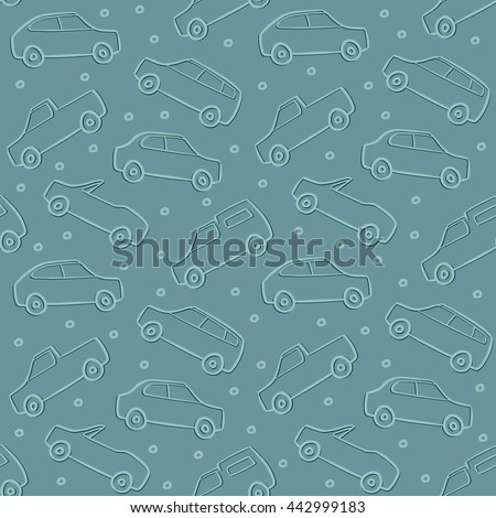 Cars Doodles Pattern Seamless Vector Background