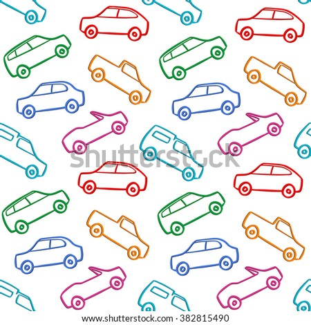 Cars Doodles Seamless Pattern