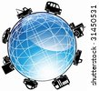 Cars Driving Around The World : Icon of different types of vehicles traveling around a three dimensional shiny globe. - stock vector