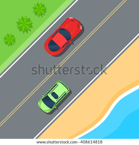 Cars driving on the road along the coast and the sea. Road travel top view. Color Flat style vector illustration background for web design or print - stock vector