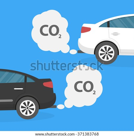Cars emitting carbon dioxide. Pollution concept. Flat design - stock vector