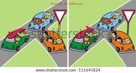 Cars, find ten differences - stock vector