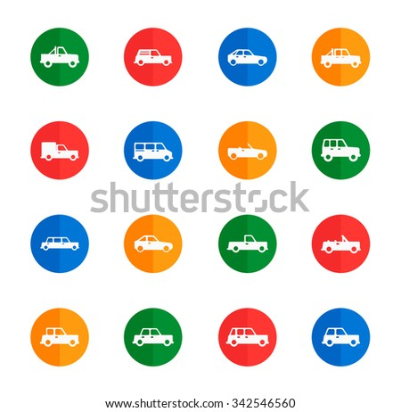 Cars flat icons for media - stock vector