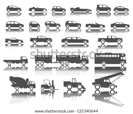 cars icon on white background - stock vector
