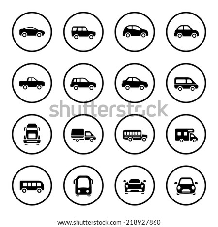 Cars icon set - stock vector
