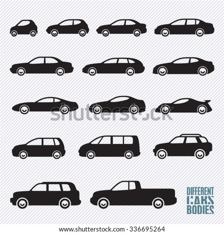 cars icons set, different car types - stock vector
