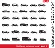 Cars icons set 1. 30 different vector car forms - stock photo