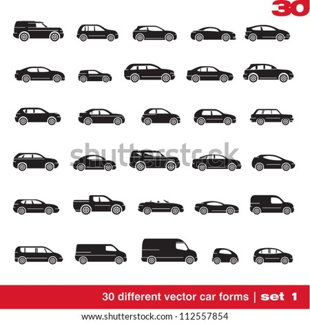 Cars icons set 1. 30 different vector car forms - stock vector
