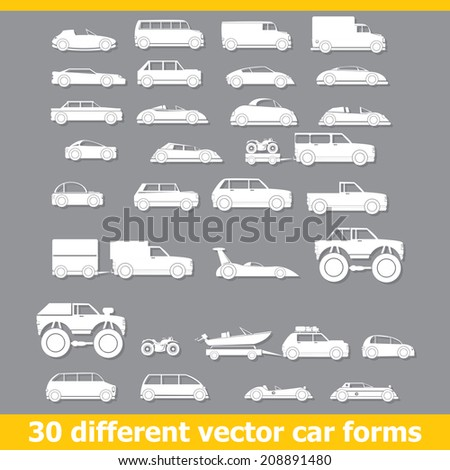 Cars icons set . 30 different vector car forms - stock vector