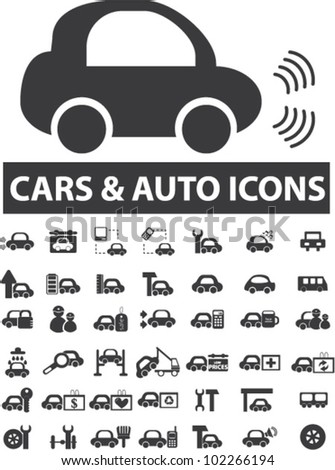 cars icons set, vector - stock vector