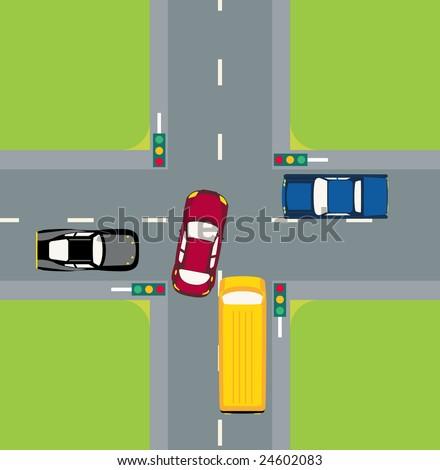 Cars in Traffic - stock vector