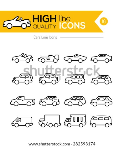 Cars line Icons - stock vector