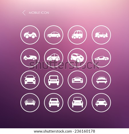 Cars mobile icons set different vector car forms. Web icons. - stock vector