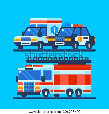 Cars. Police, ambulance and fire truck. Vector flat illustration. - stock vector