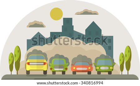Cars pollute the environment. Smoke from cars covers the house and the sky. Pollution cloud. Vector flat  illustration. Image for Earth Day,World environment day.  - stock vector