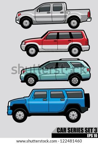 cars series set 3 - stock vector