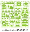 Cars, streets, trees and buildings - a green city color vector cartoon illustration set - stock photo