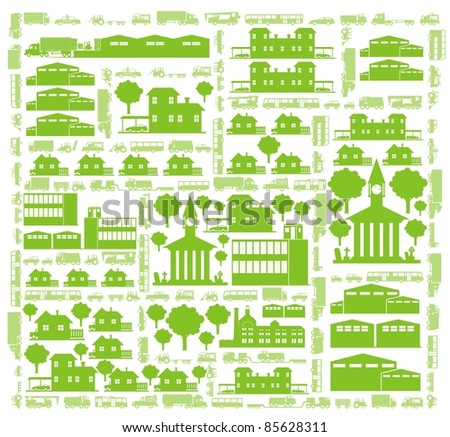 Cars, streets, trees and buildings - a green city color vector cartoon illustration set - stock vector