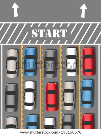 Cars take off on busy travel vacation or commute driving season time - stock vector