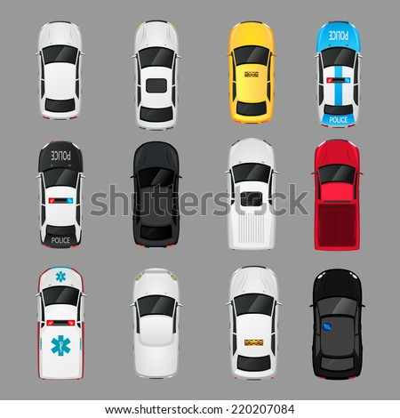 Cars transport top view icons set isolated vector illustration - stock vector
