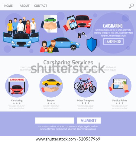 Carsharing Service Web Template Layout Different Stock Vector ...