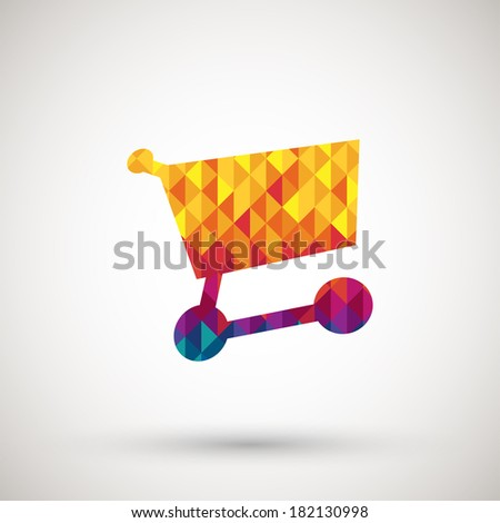 cart icon with colorful diamond - stock vector