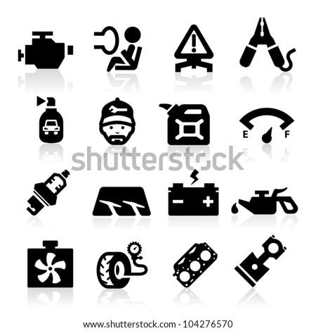 Cart parts icons set  Elegant series - stock vector