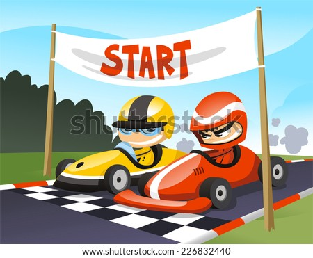 Cart racers at the start cartoon illustration - stock vector