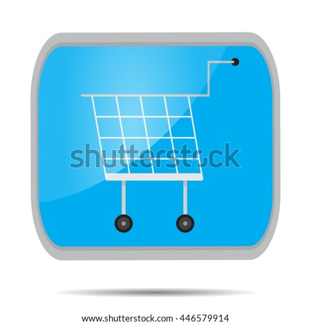 Cart shopping button icon. Shopping cart icon basket for supermarket. Vector illustration